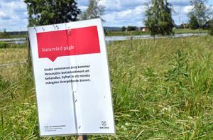 Naturvård pågår, står det på kommunens anslag.