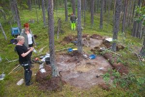 Närmast i bild syns gravplatsen - lite längre bort syns det avlånga hål som arkeologerna tror är en kokgrop för matlagning.