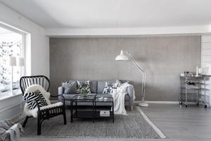 Nästan hela husets interiör går i grått och vitt. Foto: Utsikten foto