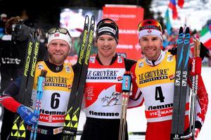 Johnsrud Sundby, Cologna och Harvey stod alla på pallen i Seefeld, även denna helg. Bilden är från ett tidigare tillfälle.