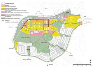 Kartan visar förutsättningarna i Geneta i dag. Det gröna står för grönområden, det gula för bostäder, det orange för bostäder med verksamhetslokaler i gatuplan, det grå för verksamheter och det rosa för förskola, skola och äldreboende. Karta: Södertälje kommun