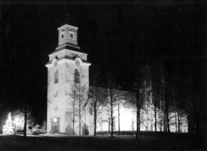 Bergs kyrka, Hoverberg, i juletid någon gång under 1950-talet.