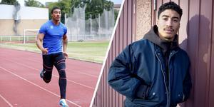 Han kommer från Södertälje och överraskade den svenska sprinteliten med sina framgångar. Nu vill Dennis Leal Tcham berätta om sin tuffa barndom. Bild: Jacob Sjölin och Mattias Holgersson