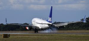 SAS-plan landar på Sturup, en av de flygplatser som snart ska fjärrstyras från Arlanda. Foto: Johan Nilsson / TT