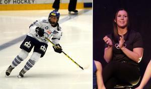 Elin Lundberg på isen och under lördagens OS-hyllning i Malung.
