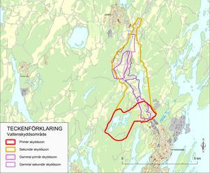 De gula och röda linjerna markerar de nya skyddszonerna för Berga grundvattentäkt. Skyddet är som strängast innanför den röda linjen.
