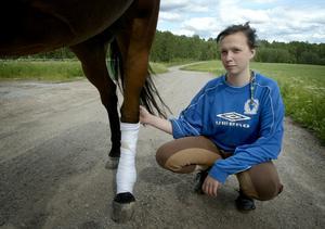 Påkörd och skadad. Hur illa skadat hästen Bombardiers vänstra bakben blev efter påkörningen vet Emma ännu inte.
