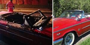 Daniel Murars nyrenoverade Ford stals och hittades helt utbränd under natten mot lördag.