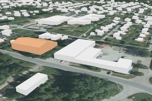 Grafik från kommunens detaljplan över den planerade padelhallen, som här lyser i orange.