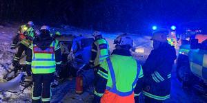 Trafikolycka på rv 70, norr om Mora. Foto: Brandkåren Norra Dalarna.