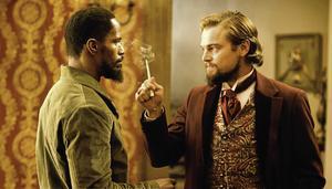 Jamie Foxx som Django och Leonardo DiCaprio som Calvin J. Candie i Quentin Tarantinos