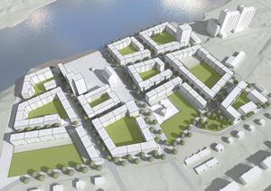 Skiss från kommunens planbeskrivning för Uthamnen som visar det nya planerade bostadsområdet i Södra. De flesta husen blir på fem eller sex våningar – det högsta är på 16 våningar. Skiss: Metod arkitekter