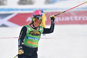 Sandra Näslund klarade sig bra i världscuppremiären.