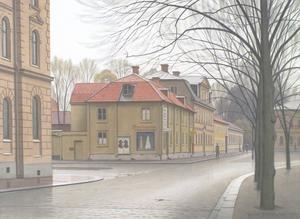 David Söderholms skildring av korsningen mellan Munkgatan och Erik Harhs väg vid Fiskartorget.