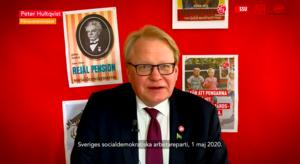 Sveriges försvarsminister Peter Hultqvist deltog i firandet via länk.