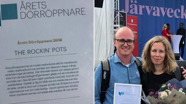 """Jonas och Rosmari Hagström fick ta emot priset """"Åretss dörröppnare"""" under politikerveckan i Järva."""