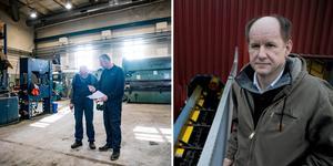 Christopher Larsson, platschef på sågverket i Hissmofors. Fotomontage: Stefan Nolervik/Arkivbild