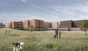 Brixly har åtagit sig att riva nuvarande Kungsgården och bygga ett nytt vårdboende för 242 miljoner kronor. Skiss: Marge arkitekter