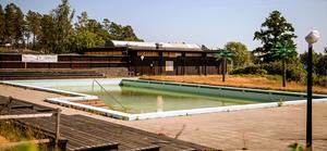 Poolens vatten har färgats grönt.