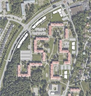 De vita markeringarna visar var Telge bostäder vill bygga 250 till 300 bostäder i Västra Blombacka, längs med Holmfastvägen (till vänster) och Brolundavägen (till höger). Illustration: Telge bostäder