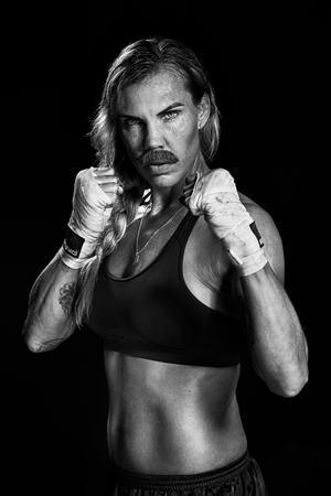 Mikaela Laurén, världsmästare i boxning och en av ambassadörerna för Mustaschkampen 2019. Fotograf: Ewa-Marie Rundquist