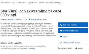 Conny Perssons annons på Blocket.