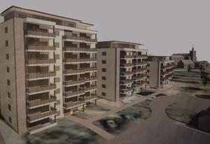 50-60 lägenheter planeras att byggas på platsen intill Norra Järnvägsgatan, i närheten av Söderbaumska skolan och Stora Kopparbergs kyrka. Så här ser en idéskiss ut för området.