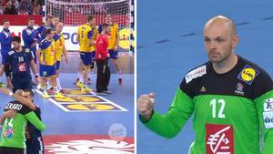Sverige deppar efter förlusten mot Frankrike där deras målvakt Vincent Gerard blev matchhjälte. Bild: TV3.