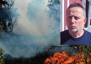 Räddningsledaren Leif Ekström. Brandbilden är tagen vid en annan skogsbrand.  Foto: Mostphotos/Karin Johansson