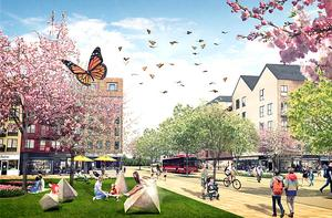 Övre Bryggårdsgärdet – ett stadsomvandlingsprojekt från småindustri till bostadskvarter. Här planers 1 400 nya bostäder med gröna, lekfulla och trygga miljöer. Illustration: Norrtälje kommun