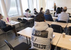 Debattören anför det positiva i att stat och kommuner satsat på utbildning, som på SFI. Det har gjort att andelen flyktingar eller anhöriga till flyktingar som hade jobb 90 dagar efter slutet av sin etableringsperiod ökat. Foto: Fredrik Sandberg/TT