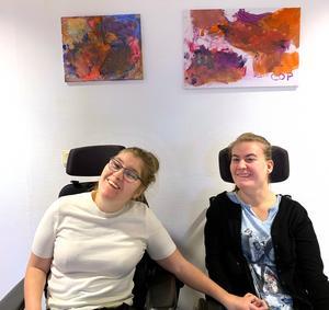 Carmen Pearson, Sala, och Olivia Wallin, Fagersta, har målat tavlor till förmån för Musikhjälpen.