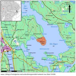 På Hälgsnäsudden finns en hel del kulturhistoriska lämningar, bland annat efter förhistorisk järnframställning. Arkeologerna har i strandvattnet hittat en bit hälleflinta som slagits av människohänder och som kan spår efter stenåldersbosättningar.  Karta ur den arkeologiska rapporten SAU 2017:10