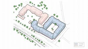 Den blå huskroppen är det planerade nybygget. 170 lägenheter, där de minsta är 25 kvadratmeter och de största 120 kvadratmeter, vill markägaren bygga på tomten där två villor och en butikslokal finns idag.  Illustration: Okidoki