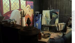 """""""Tavlan"""". I slottet bor """"de kompletta"""", figurerna som konstnären målade innan han försvann."""