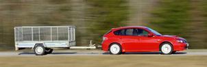 Ett olastat släp på knappt 300 kilo ökade förbrukningen med dryga decilitern för Subaru Impreza.Foto: Stefan Nilsson