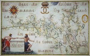 Neptunus med krona, skägg och treudd sysn på Carl Gripenhielms berömda Mälarkarta från 1689.