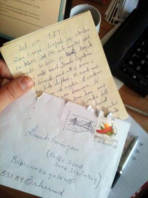"""Det äldsta minnet som kommit in till """"Den dolda staden""""-projektet var ett handskrivet brev med minnen från 1927."""