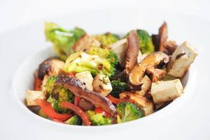 Wokad tofu med svamp och anchochili. Mycket smak och nyttiga vitaminer på samma tallrik.