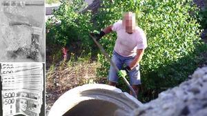 Här syns en av de misstänkta männen när han gräver fram narkotikan. Polisen har också gjort flera beslag av kontanter.Foto: ur polisens förundersökning