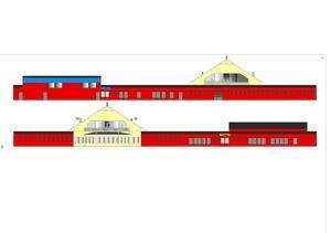 Fasad mot söder och norr, enligt ritning av fritidshuset.