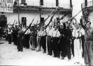 Regeringstrupper i Barcelona efter att den republikanska sidan tagit makten över området.