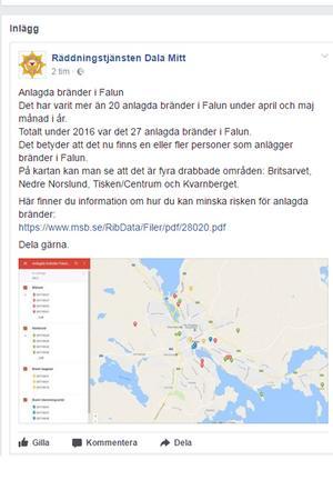 Via sin Facebooksida går Räddningstjänsten Dala Mitt ut med sin teori om att någon eller några anlägger bränder i Falun.
