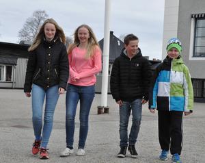 Elin Busk, Madeleine Jonsson, Hubert Hermansson och Andreas Östling trivs bra på Norra skolan i Sveg.