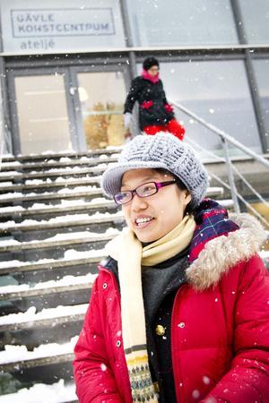 Pei Ying Kuang från Kanton i södra Kina upplevde snö för första gången i sitt liv.
