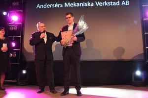 Andersers mekaniska verkstad fick priset Årets entreprenör. Johan Jörgenson tog emot priset.