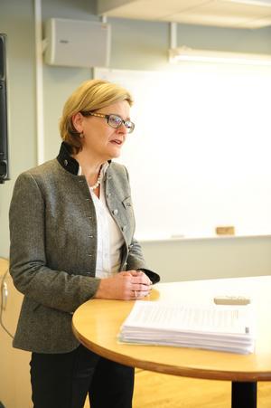 Annika Nygårds – vd för Leksands Sparbank. Den första kvinnliga på 140 år. Hon deltog på presskonferensen.