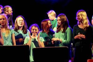 Eleverna ser lättade ut efter en väl framförd vårshow i Röjsmohallen i Järpen.
