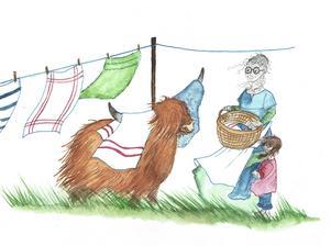 Karin Linderoth har också gjort Illustrationerna i boken. Här hänger Margit tvätt med Mormor KrutRök och Rosita.