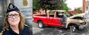Örebros länspolismästare Ebba Sverne Arvill är inte nöjd med hur polisen har skött fallet med Jimmy Smedjeborgs utbrända bil.